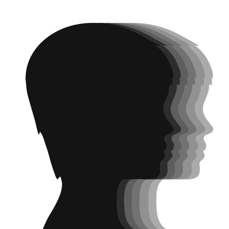 Silhouette of head group of people, stock vector illustration