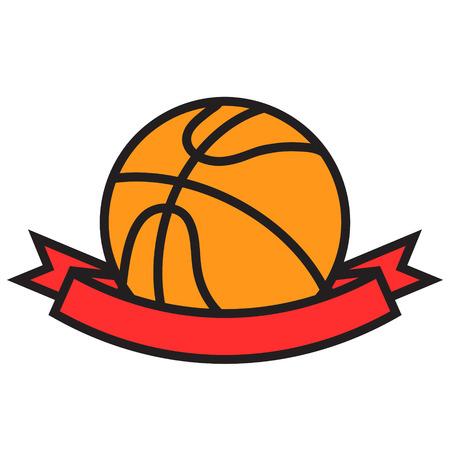 Orange basketball ball with red winner ribbon tape cartoon flat design, stock vector illustration