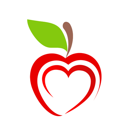 red apple fruit icon with heart symbol on white, stock vector illustration