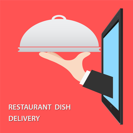 Restaurant Food Delivery Concept flat vector illustration. Hand of Waiter with dish from tablet