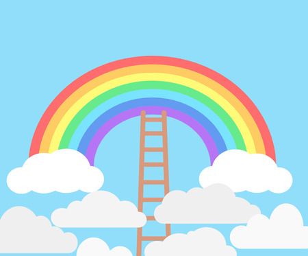 Color rainbow with clouds and wooden stairs on blue sky background