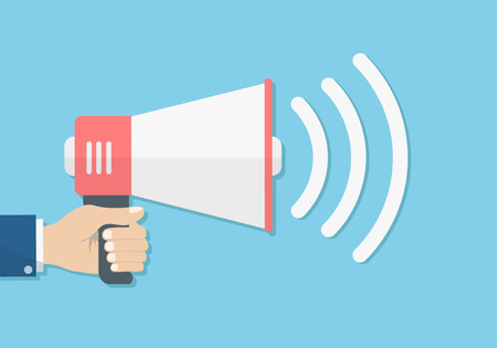 hand holding loudspeaker megaphone sound promotion, announcement concept, stock vector illustration