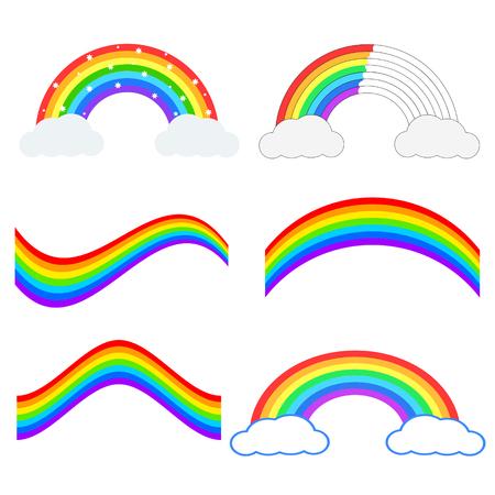 Set of beautiful rainbow illustration. Vector icon. Çizim