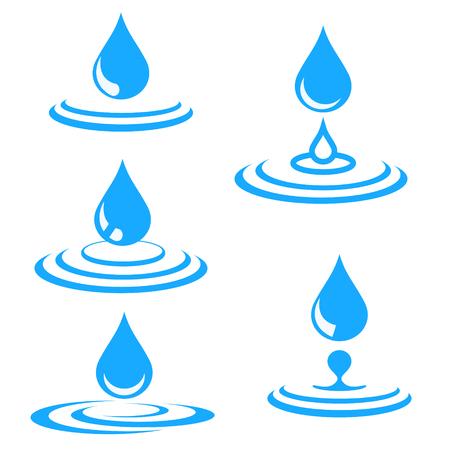 Set aus blauem Wassertropfen und Spritzer, Vektorillustration