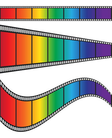Cimena film tape colorful rainbow design, stock vector illustration Illustration