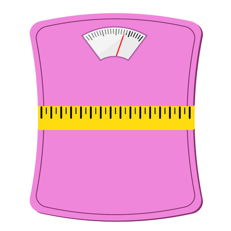 pink woman scale with measuring tape, diet concept design, stock vector illustration
