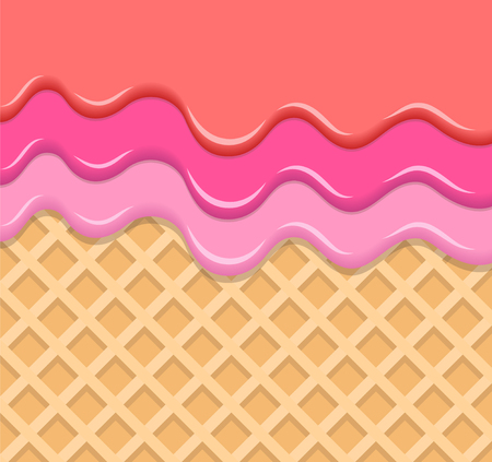 Berry Cream Melted on Wafer Background. Vector Illustration, eps 10 Фото со стока - 125203027