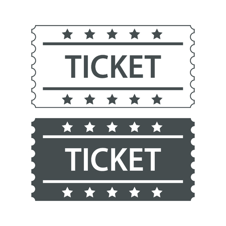 two cinema tickets black and white design, stock vector illustration