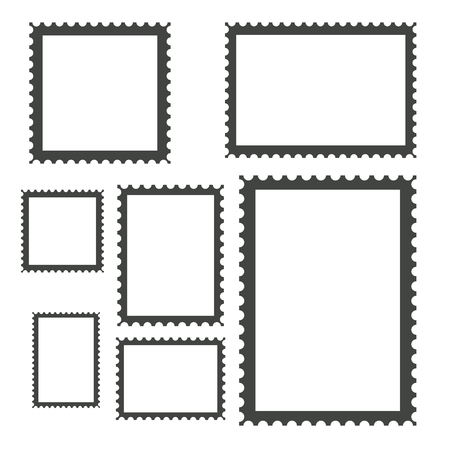Blank Postage Stamps Collection, stock vector illustration