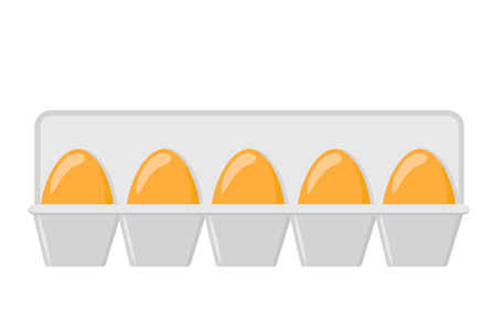 Chicken eggs in a tray on white, stock vector illustration Ilustração
