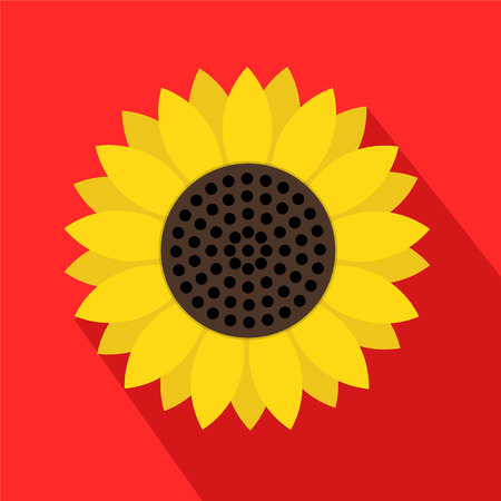 sunflower symbol icon on red with long shadow, stock vector illustration