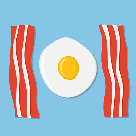 Fried egg and meat bacon on blue as breakfast concept, stock vector illustration Illustration