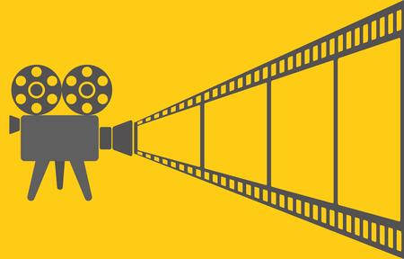 Retro video camera and film tape on yellow cimena background, stock vector illustration Vektorové ilustrace