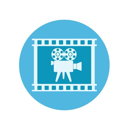 Retro video camera in film tape on blue button for web design, stock vector illustration
