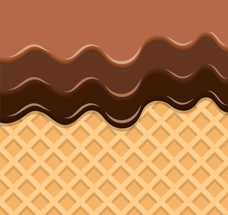 Dark and Milk Chocolate Melted on Wafer Background. Vector Illustration, eps 10 Фото со стока - 125203051
