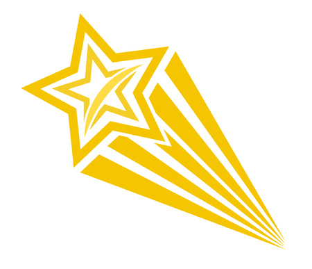 Retro cartoon pop art comic style shooting star. Vector illustration, eps 10  イラスト・ベクター素材