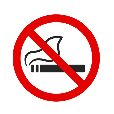 No smoking sign red round on white, stock vector illustration