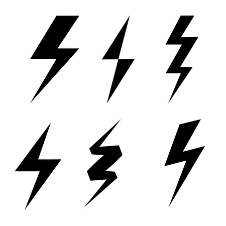 Set of thunderbolt symbol, danger electrical power signs on white, stock vector illustration