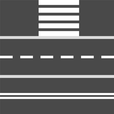 Insieme di elementi di design del tratto stradale e del passaggio pedonale, illustrazione vettoriale d'archivio