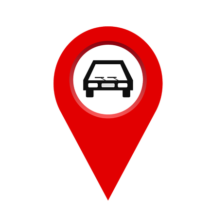 pin location with car isolated icon design, vector illustration graphic, stock vector eps 10