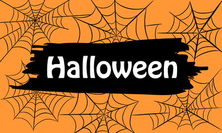 Orange Halloween Text Banner with Web, Stock Vector Illustration Çizim