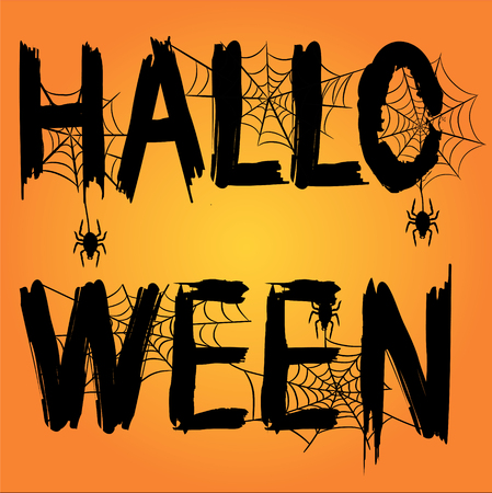 Happy Halloween Text Banner with Spider, Web and Bat, Stock Vector Illustration