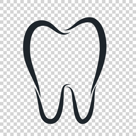 Tooth logo icon for dentist or stomatology dental care design template. Vector isolated black outline line tooth symbol for dentistry clinic or dentist medical center and toothpaste package Banco de Imagens - 119260036
