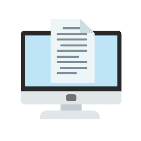computer monitor and e-mail in cartoon style icon on white, stock vector illustration Ilustração