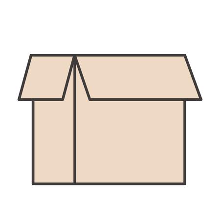 open cardboard box isolated icon on white, stock vector illustration Ilustração