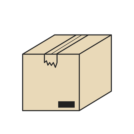 closed cardboard box isolated icon on white, stock vector illustration Çizim