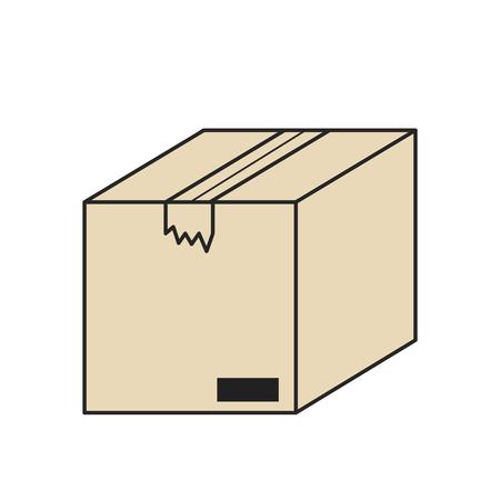 closed cardboard box isolated icon on white, stock vector illustration Ilustração
