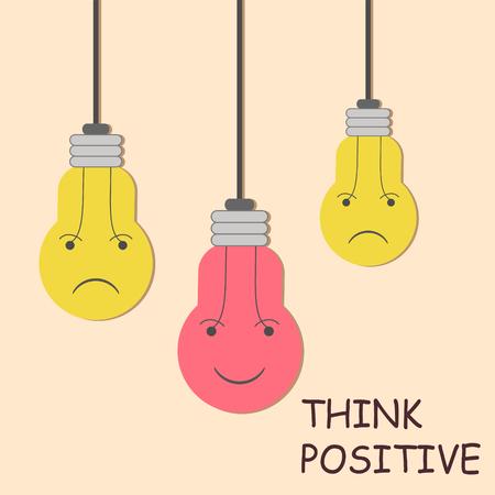 think positive color bulb design concept, stock vector illustration