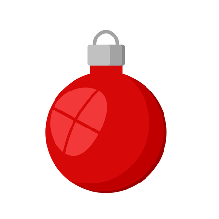 red christmas decorative ball isolated icon on white, stock vector illustration