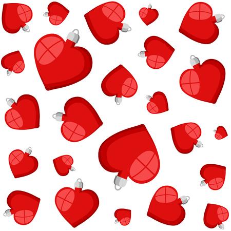 red christmas heart balls decorative pattern isolated icon on white, stock vector illustration Ilustração