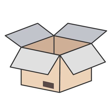 open cardboard box isolated icon on white, stock vector illustration Çizim