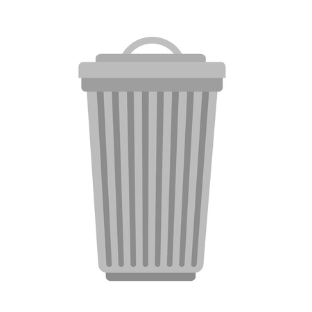 trash can isolated icon on white, stock vector illustration Ilustração