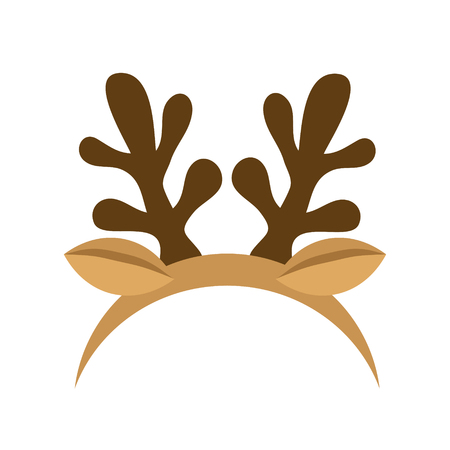 Mask with reindeer antler isolated on white background. Merry Christmas. vector illustration 일러스트