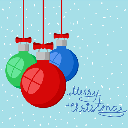 Merry Christmas greeting card on snowy background with red, green and blue decorative balls, stok vector illustration