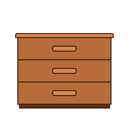 wooden drawer isolated on white, stock vector icon illustration