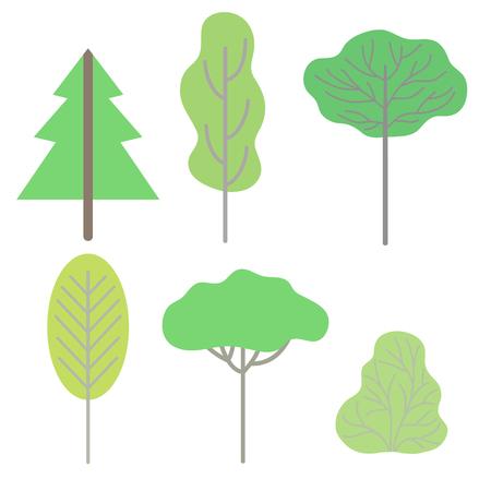 Green trees, summer landscape design elements vector Illustration