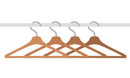 wooden clothes hangers isolated on white, stock vector illustration Ilustração