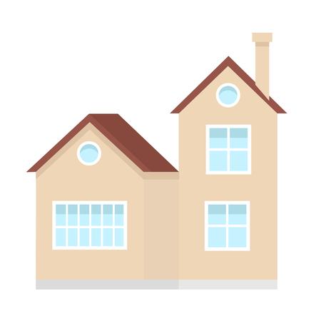 Residential house building, suburban private house, design element of urban or rural landscape vector Illustration