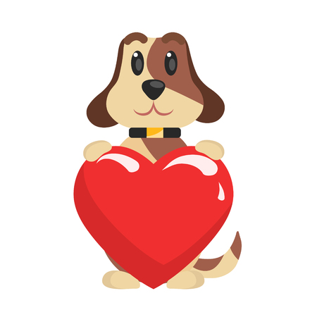 Funny Jack Russell Terrier dog sitting and holding red heart, cute Valentine animal character vector Illustration