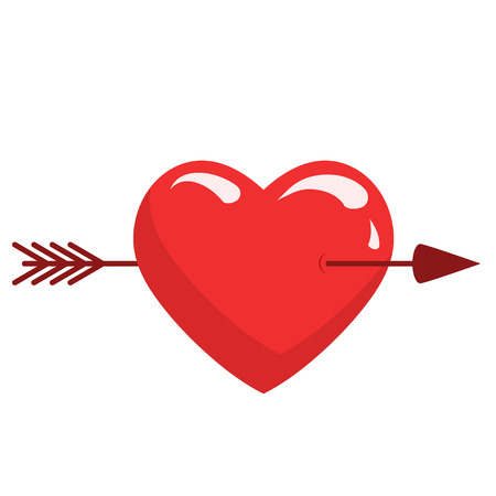 red heart with arrow love romatic passion icon. Isolated and flat illustration, stock vector graphic