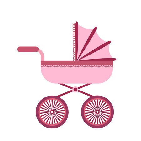 Baby stroller isolated on white background. Children pram, baby carriage vector illustration
