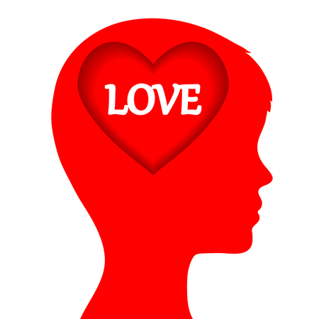 Love concept with man head and red heart on white, stock vector illustration