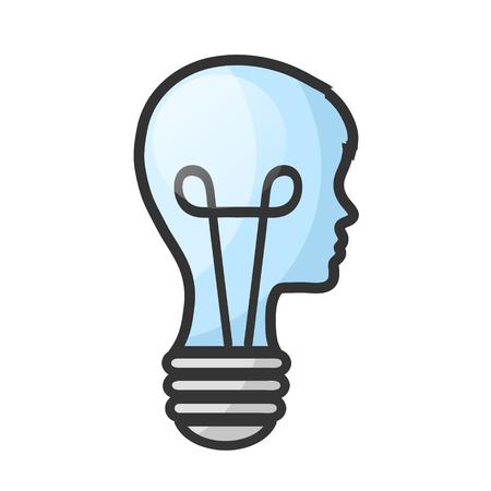 Concepto de cabeza de hombre como bombilla con cerebro en blanco, ilustración vectorial de stock