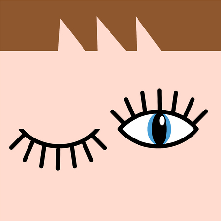Eye doodles hand drawing. Open and winking eyes. Stock vector illustration