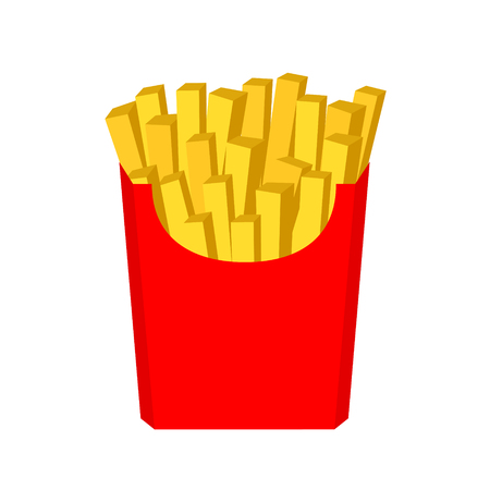 Hand drawn vector illustration of french fried potatoe in red box