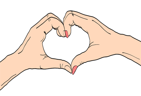 Love Concept. female and male hands with heart sign. Vector colorful hand drawn illustration in retro comic style on white background.